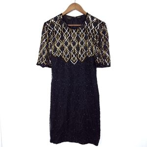 Vintage 80s Sequin Beaded Silk Cocktail Dress